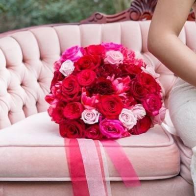Fuchsia Floral Valentine Bridal Shoot