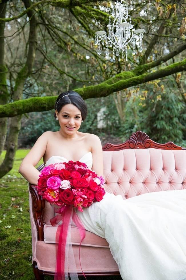 Fuchsia Floral Valentine Bridal Shoot 10