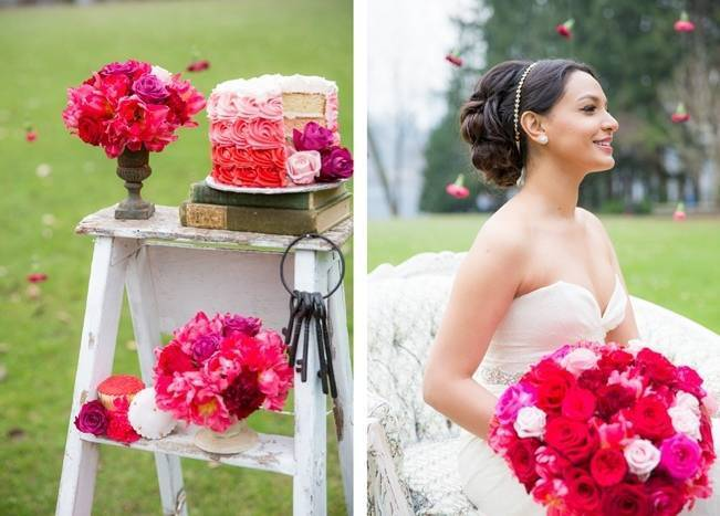 Fuchsia Floral Valentine Bridal Shoot 3