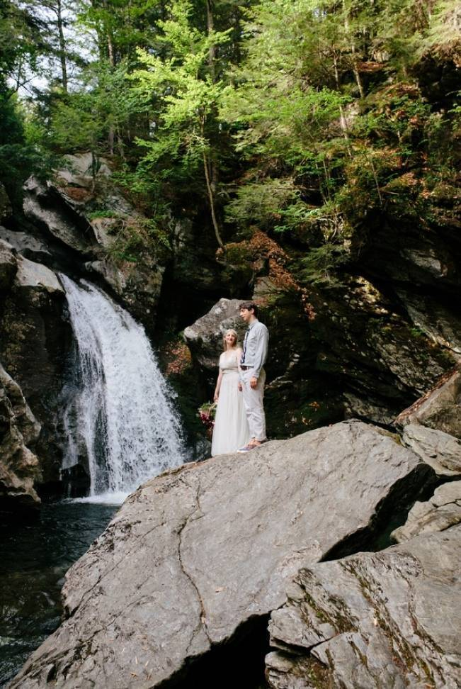 Styled Vermont Waterfall Elopement 13