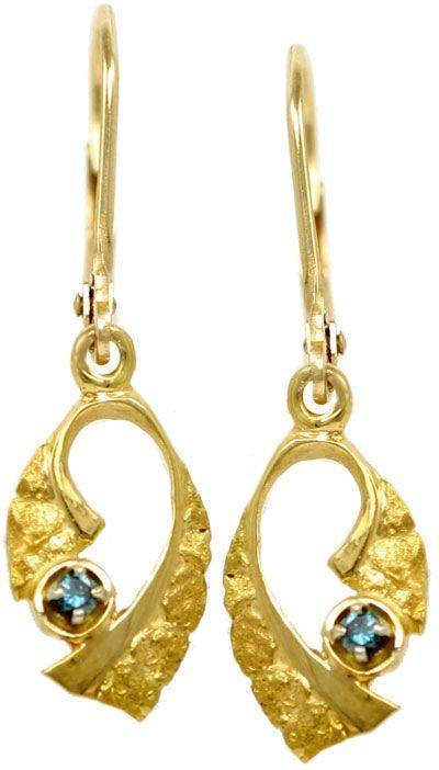 14Karat Scroll Nugget Lever Back Earrings With Blue Diamonds