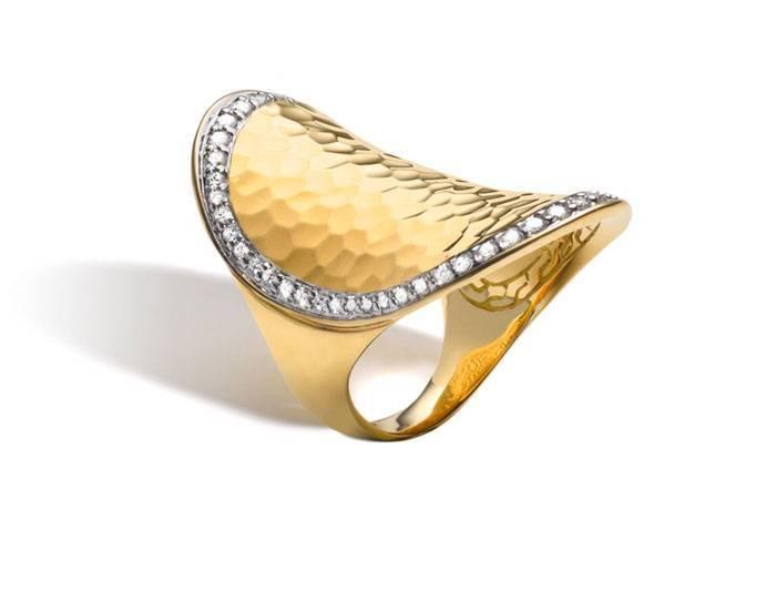 John Hardy Palu Gold Saddle Ring with Diamonds