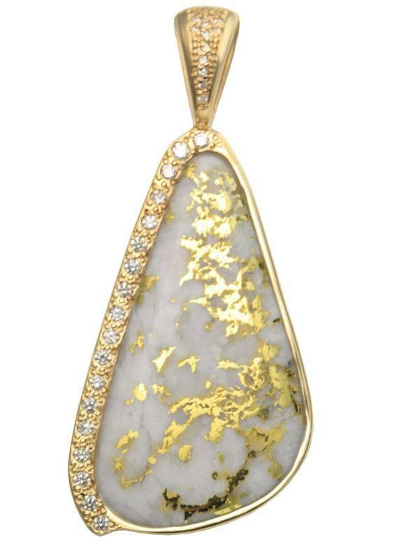 One of a Kind Gold Quartz Pendant
