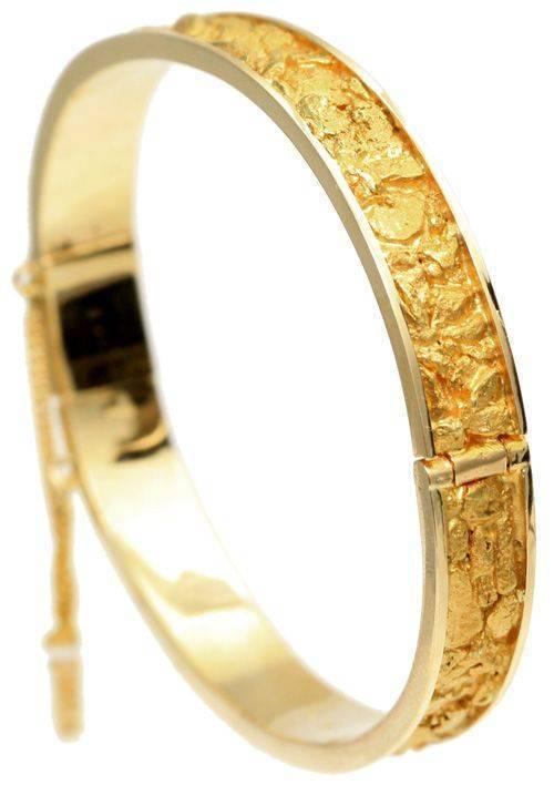 REAL Gold Nugget Bangle Bracelet