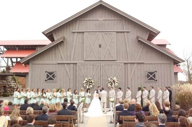 Rustic Mint + Taupe Alabama Barn Wedding 11
