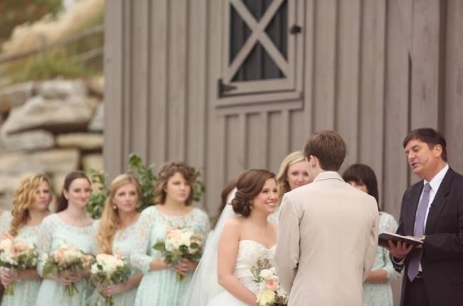 Rustic Mint + Taupe Alabama Barn Wedding 13