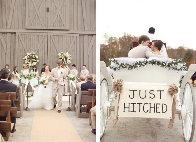 Rustic Mint + Taupe Alabama Barn Wedding 14
