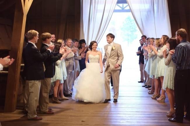 Rustic Mint + Taupe Alabama Barn Wedding 21