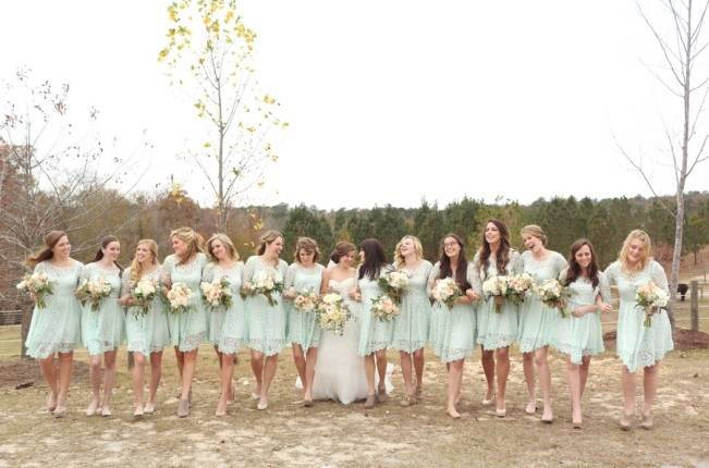 Rustic Mint + Taupe Alabama Barn Wedding 5
