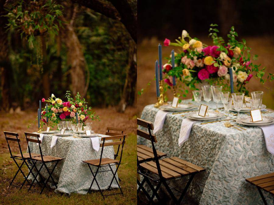 ... outdoor bohemian wedding with these two table settings. The first one is a traditional setup with fancy crockery in muted blues and gold. & Two Setups For A Woodsy Bohemian Wedding - BridalPulse