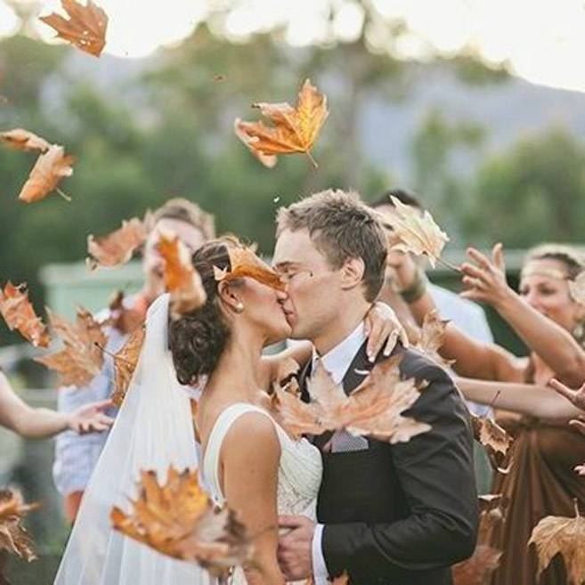 10 Epic Send-Off Photos That Don't Involve Rice - Fall Leaves