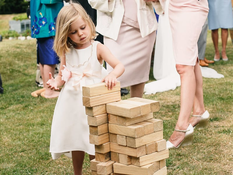 Garden jenga Styling a Barn Venue for Your Wedding Day